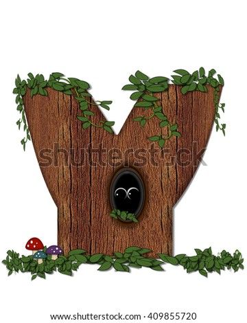 """The letter Y, in the alphabet set """"Log"""" is filled with wood texture.  Vines and colorful mushrooms grow around letter.  Some letters have knot holes with peeking eyes. - stock photo"""