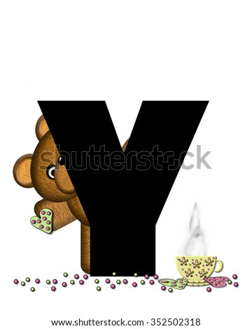 """The letter Y, in the alphabet set """"Teddy Tea Time,"""" is black.  Teddy bear enjoys a cup of hot tea with heart shaped and frosted cookies.  Candy sprinkles cover floor. - stock photo"""