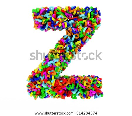 The letter Z consists of numbers. Colored letters on a white background. 3D render.
