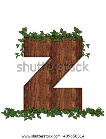 "The letter Z, in the alphabet set ""Deep Woods"" is filled with wood texture and has vines growing all over it. It coordinates with the alphabet set Deep Woods Owl."