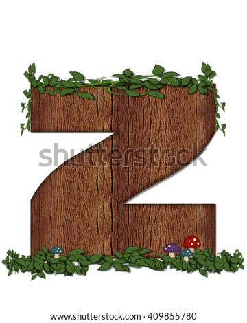 """The letter Z, in the alphabet set """"Log"""" is filled with wood texture.  Vines and colorful mushrooms grow around letter.  Some letters have knot holes with peeking eyes. - stock photo"""