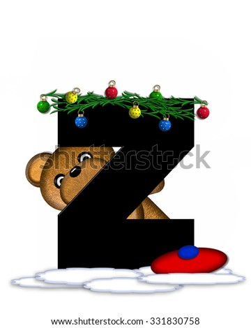 """The letter Z, in the alphabet set """"Teddy Christmas Boughs,"""" is black and sits on pile of snow.  Teddy Bear wearing cap and mittens, decorates letter with Christmas boughs and ornaments. - stock photo"""