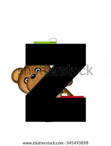 "The letter Z, in the alphabet set ""Teddy Dental Checkup,"" is black.  Teddy bear represents dentist posing with tooth brushes. - stock photo"