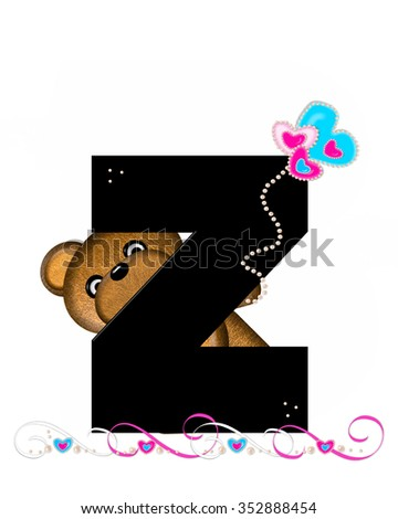 """The letter Z, in the alphabet set """"Teddy Valentine's Cutie,"""" is black.  Brown teddy bear holds heart shaped balloons in pink and blue.  String of pearls serve as string. - stock photo"""