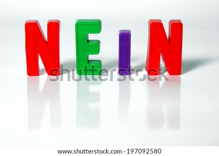 "the letters nein, German word ""nein"", translation: no"