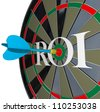 The letters ROI on a dartboard symbolizing return on investment and the profits and gains you can get from investing in stocks or saving your money with interest - stock photo