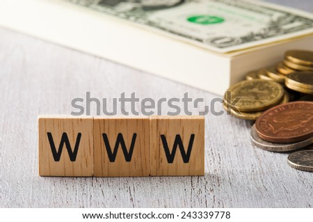 The letters WWW on white wood business concept - stock photo