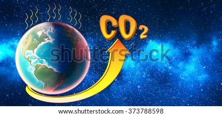 The level of CO2 in the planet atmosphere rises and exceeds the norm. 3D render. - stock photo