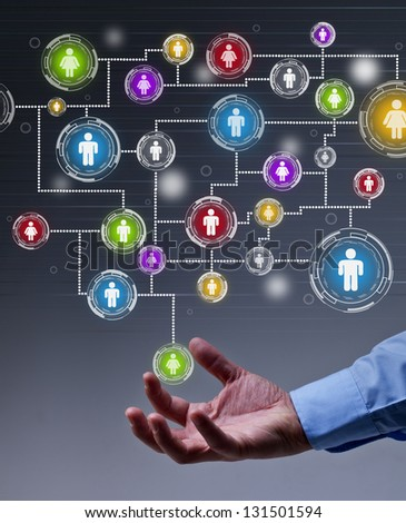 The leverage of social networking in business concept - stock photo