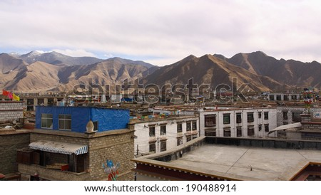 The Lhasa's building with the mountain (Lhasa, Tibet)