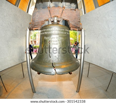 The Liberty Bell, the symbol of American freedom through a fisheye lens - stock photo