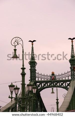 The liberty bridge in Budapest in Hungary - stock photo