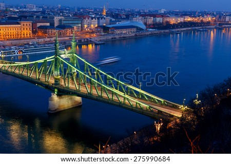 The Liberty Bridge in night. Budapest, Hungary - stock photo