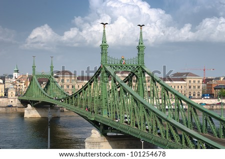 the Liberty Bridge (sometimes Freedom Bridge) in style Art Nouveau connects Buda and Pest across the River Danube in Budapest - stock photo
