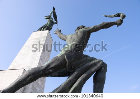 the Liberty Monument (sometimes Freedom Monument) in Budapest was erected in 1947 in remembrance of the Soviet liberation of Hungary from Nazi forces during World War II - stock photo