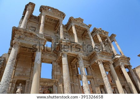 The Library of Celsus at the ancient city of Ephesus in southwest Turkey.  - stock photo