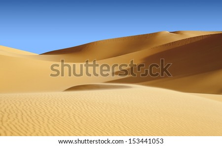 The Libyan desert - a fantastic place for travelers and photographers. Beautiful structure of dense yellow sand, dune of the huge sizes.