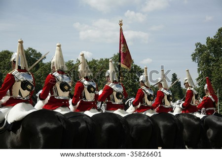 the life guards on horseback - stock photo