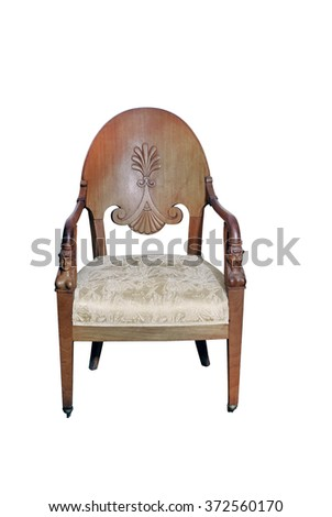 The life of middle class in the beginning  of 20th century. Old wooden chair in Art Nouveau style. Wood, carving and tapestry.