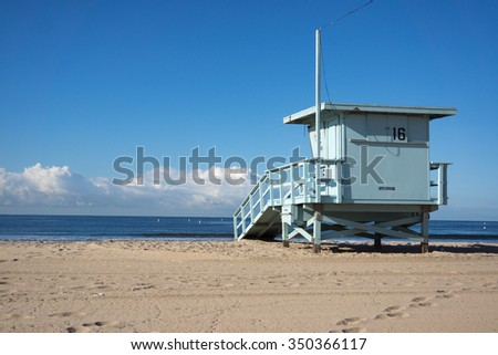The life saving shed faces out to sea on Santa Monica beach.