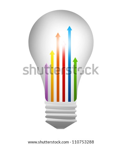 The Light Bulb With Colorful Moving Up Arrow Inside For Business Concept Isolated on White Background - stock photo