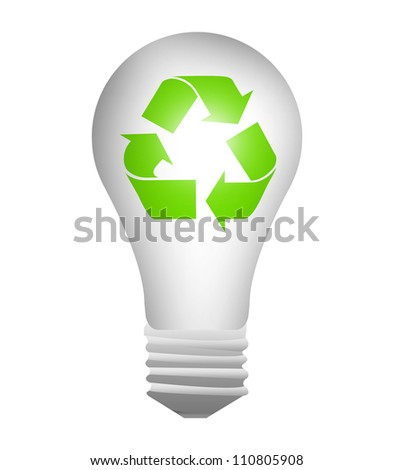 The Light Bulb With Green Recycle Sign Inside For Recycle Concept Or Save The Earth Concept Isolate on White Background
