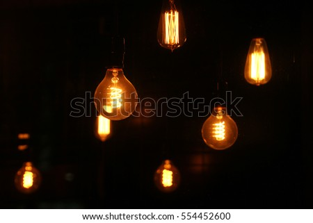 The light bulbs that have unique filaments inside (selective focus)