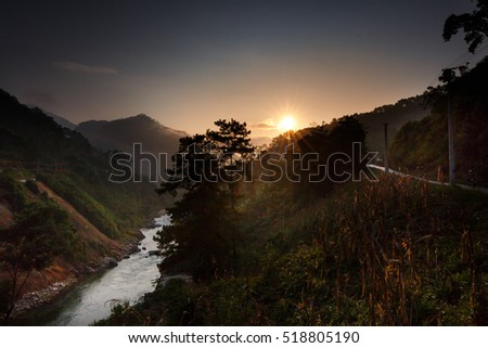 The light of sunrise. Nature majestic mountains landscape in Ha Giang, Vietnam