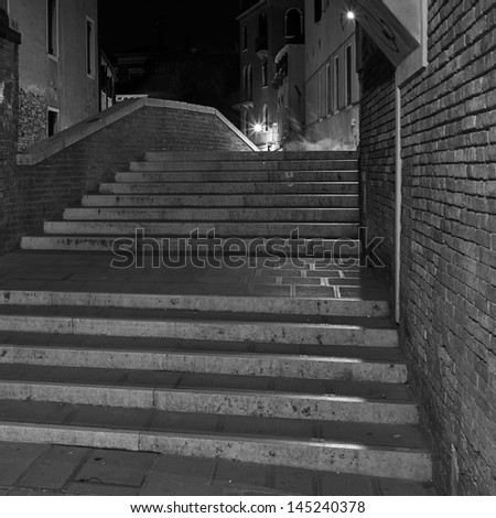 The Light of Venice Long exposure By Night. Blurred motion on curtain due to wind.  - stock photo