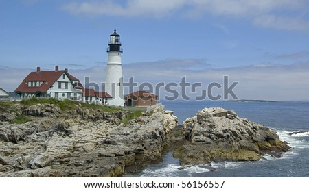 the Lighthouse at Cape Elizabeth, Maine, Usa