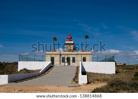 The lighthouse in Algarve, Portugal, Lagos - stock photo