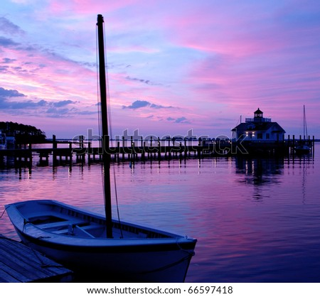 The lighthouse in Manteo, North Carolina on Roanoke Island at Sunrise.