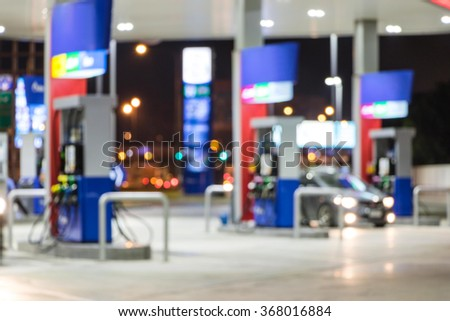 The Lighting Blurred in Gas station at night   - stock photo