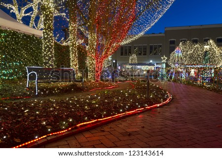 The Lights of the Ozarks in downtown Fayetteville, Arkansas - stock photo