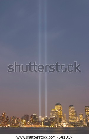 the lights of the September 11th memorial in downtown Manhattan - stock photo