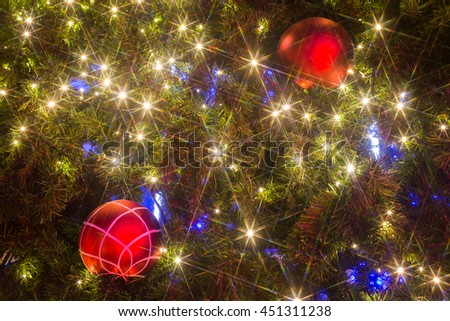 The lights on the Christmas tree decoration background