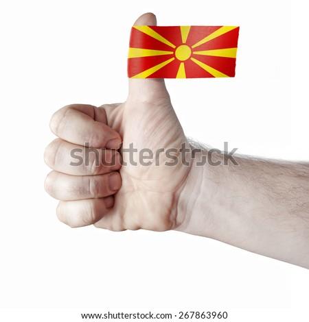 "The ""like"" - the thumb and the flag of Macedonia - stock photo"