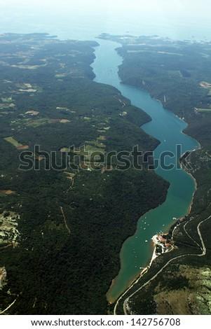 The Lim fjord, Adriatic sea, Istra, Croatia - aerial view - stock photo