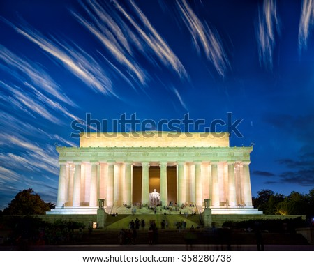 The Lincoln Memorial at dusk, Washington DC, United States - stock photo