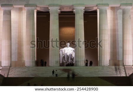 The Lincoln Memorial at Night on the National Mall in Washington, DC - stock photo