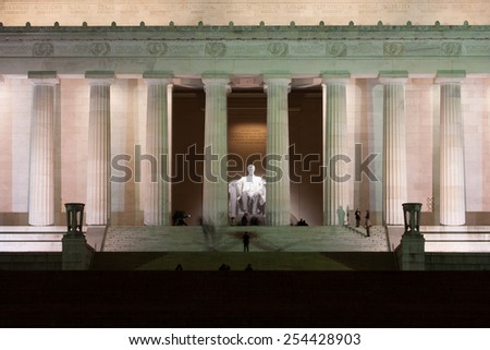 The Lincoln Memorial at Night on the National Mall in Washington, DC