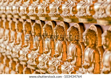 the line forming of buddha image. - stock photo