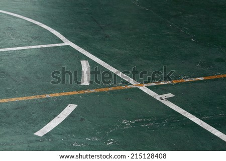 The line on basketball field - stock photo