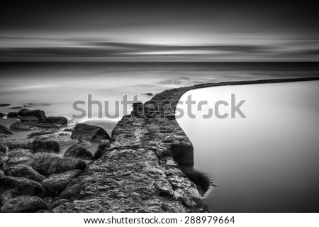 The line that crosses the ocean - stock photo