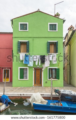 The linen dried outside the windows on Burano - Venice, Italy
