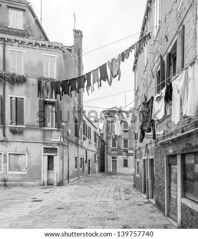 The linen dried outside the windows - Venice, Italy (black and white)