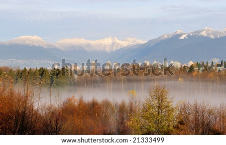 The lions mountain viewed from Burnaby - stock photo