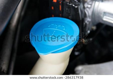the liquid cap in car engine - stock photo
