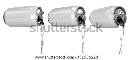 The liquid is poured out of aluminum cans. Isolated on white - stock photo