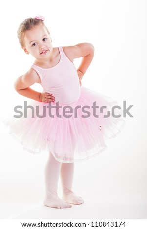 The little ballerina getting ready for class. - stock photo